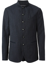 John Varvatos Military Style Striped Jacket Blue