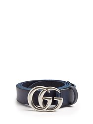 Gucci Gg Marmont Leather Belt Blue Multi