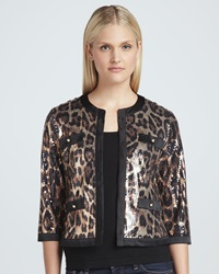 Michael Simon Animal Sequined Cropped Jacket Medium 8 10