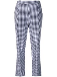 Semicouture Checked Straight Leg Trousers Blue