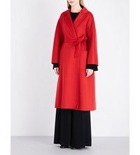Max Mara Open Front Cashmere Coat Red