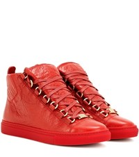 Balenciaga Arena High Top Leather Sneakers Red