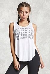 Forever 21 Active Vented Graphic Tank Top White Black