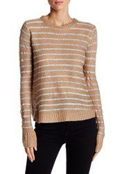 On Twelfth Tulip Back Striped Pullover Sweater Brown