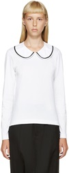 Comme Des Garcons White Peter Pan Collar T Shirt