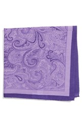Calibrate Men's Paisley Cotton And Silk Pocket Square Lavender