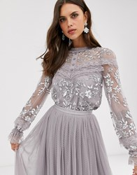 Needle And Thread Embroidered Blouse With Button Detail Sheer Sleeves In Grey