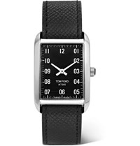Tom Ford 001 Stainless Steel And Pebble Grain Leather Watch Black