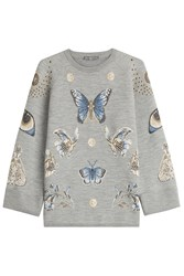 Alexander Mcqueen Printed Sweatshirt With Wool And Silk Grey