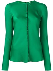 Dkny Ruffle Trim Satin Blouse Green