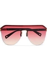 Westward Leaning Vibe D Frame Matte Acetate And Gold Tone Sunglasses Red