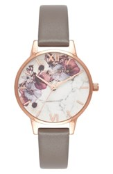 Olivia Burton Marble Floral Leather Strap Watch 30Mm Grey White Rose Gold