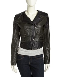 Raison D'etre Vegan Leather Moto Jacket Black Olive