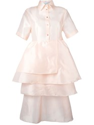 Daizy Shely Tiered Shortsleeved Shirt Dress Pink And Purple