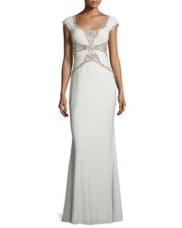 Mignon Cap Sleeve Embellished Mermaid Gown Antique Ivory