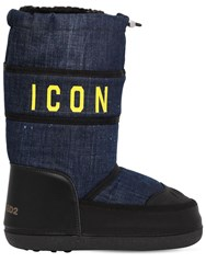 Dsquared 20Mm Icon Denim And Leather Snow Boots Blue