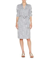 Tomas Maier Painter Stripe Poplin Shirtdress Blue Pattern