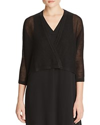 Eileen Fisher Cropped Linen Cardigan Black