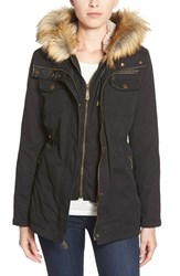 Women's Vince Camuto Faux Fur And Faux Leather Trim Twill Utility Parka Black Black