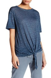 Young Fabulous And Broke Short Sleeve Side Tie Linen Tee Blue