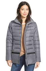 Women's Hawke And Co. Grosgrain Trim Channel Quilted Coat Grey Suit