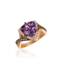 Levian 0.54Tcw Diamonds Amethyst And 14K Rose Gold Chocolatier Crisscross Shank Ring