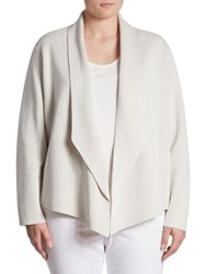 Eileen Fisher Silk And Organic Cotton Shawl Collar Cardigan Bone