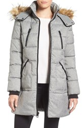 Guess Women's 'Expedition' Quilted Parka With Faux Fur Trim Grey Malange