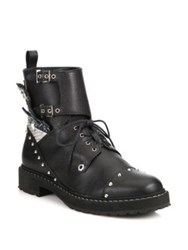 Fendi Rockerchic Studded Leather Combat Booties Black