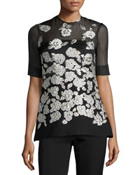 Lela Rose Metallic Floral Embroidered Blouse Black