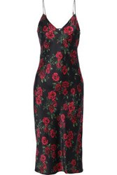 Cami Nyc Woman The Raven Floral Print Silk Charmeuse Midi Slip Dress Black