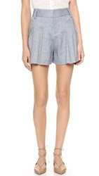 Alice Olivia Scarlet High Waisted Flutter Shorts Denim Blue