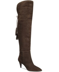 Nine West Josephine Pointed Toe Over The Knee Boots Women's Shoes Dark Brown Suede