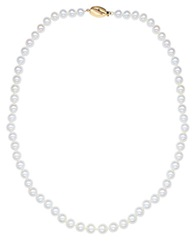 Honora Style 7Mm White Pearl And 14K Yellow Gold Necklace 18 In. Pearl Gold