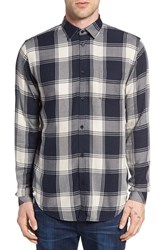 Rails Men's Lennox Slim Fit Plaid Woven Shirt Navy Sand