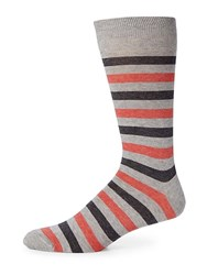 Saks Fifth Avenue Collection Striped Rugby Socks Blue Red