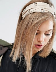 Asos Eyelet Turban Headband Nude Cream