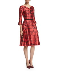 Oscar De La Renta 3 4 Sleeve Fit And Flare Day Dress Ruby Red