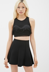 Forever 21 Fringed Mesh Crop Top