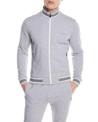 Zegna Sport Stand Collar Zip Front Cotton Sweater Gray