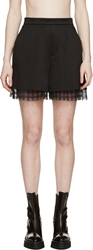 Yang Li Black Gingham Trimmed Shorts