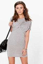 Boohoo Elle Twist Front T Shirt Dress Grey Marl