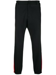Versace Stripe Trim Trousers Black