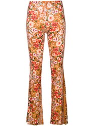 Black Coral Floral Print Flared Trousers Yellow And Orange