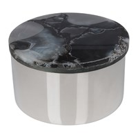 Amara Agate Topped Silver Trinket Box Black