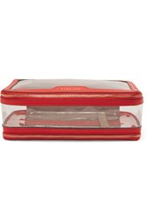 Anya Hindmarch In Flight Leather Trimmed Perspex Cosmetics Case Red