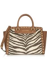 Michael Michael Kors Studded Printed Canvas And Croc Effect Leather Tote Brown