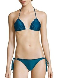 Vix By Paula Hermanny Imperial Bohemian Triangle Bikini Top Teal