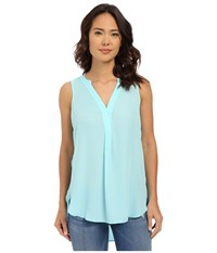 Christin Michaels Picardie Top Aqua Sea Women's Blouse Blue