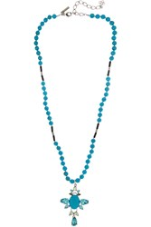 Oscar De La Renta Turquoise Onyx And Swarovski Crystal Necklace